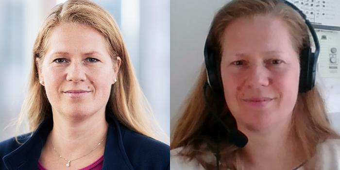Portrait von Jutta Verhoog vor und während des Home Offices