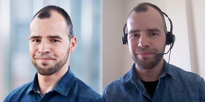 Portrait von Klemens Geuther vor und während des Home Offices
