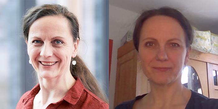 Portrait von Steffi Nickel vor und während des Home Offices